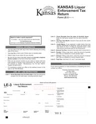"""Form LE-3 """"Liquor Enforcement Tax Return"""" - Kansas"""