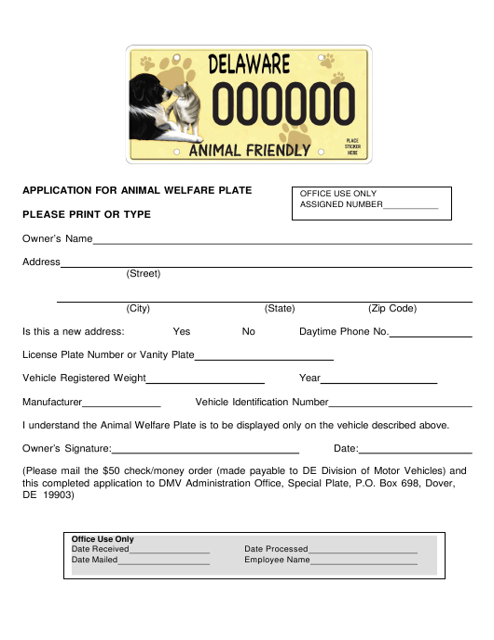 """Application for Animal Welfare Plate"" - Delaware Download Pdf"