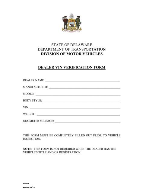 Form MV573  Printable Pdf