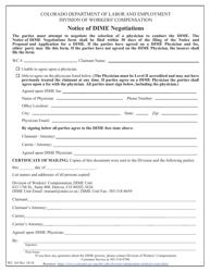 """Form WC165 """"Notice of Dime Negotiations"""" - Colorado"""