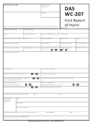 "Form DAS WC-207 ""First Report of Injury"" - Connecticut"
