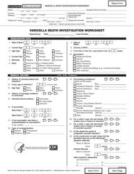 "Form CDC53.10B (E) ""Varicella Death Investigation Worksheet"""