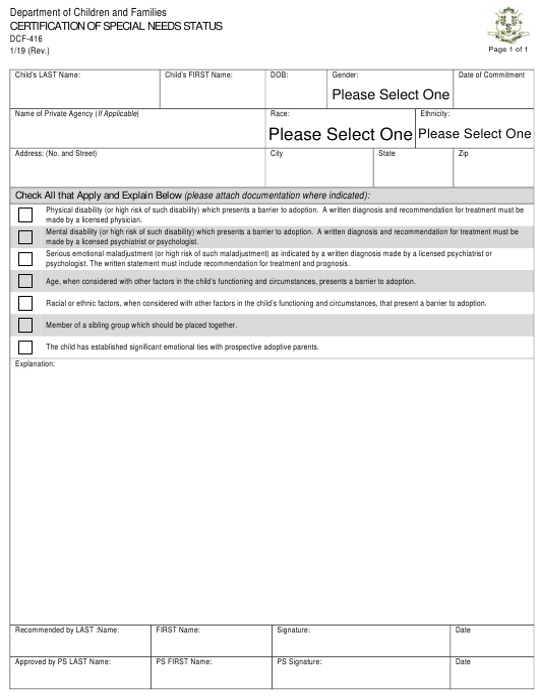 Form DCF-416  Printable Pdf