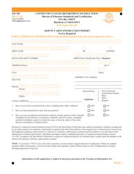 "Form ED198 ""Adjunct Arts Instruction Permit"" - Connecticut"