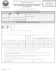"Form FDACS-08025 ""Request for Permit to Harvest Endangered or Commercially Exploited Plant(S) or Plant Part(S)"" - Florida"
