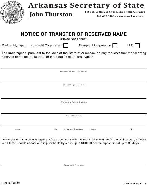 Form TRN-06  Printable Pdf