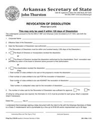 """Form DN-11 """"Revocation of Dissolution"""" - Arkansas"""