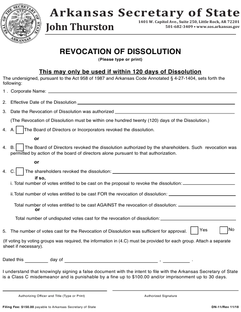 Form DN-11  Printable Pdf