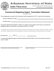 "Form CRA-TS ""Commercial Registered Agent Termination Statement"" - Arkansas"