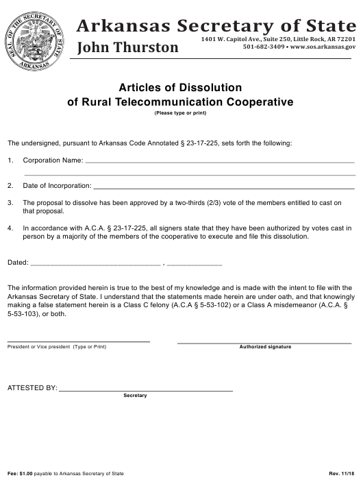 """""""Articles of Dissolution of Rural Telecommunication Cooperative"""" - Arkansas Download Pdf"""