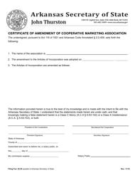 """Certificate of Amendment of Cooperative Marketing Association"" - Arkansas"