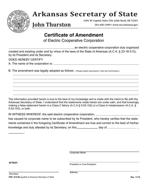 """Certificate of Amendment of Electric Cooperative Corporation"" - Arkansas Download Pdf"