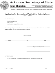 """""""Application for Reservation of Public Water Authority Name"""" - Arkansas"""