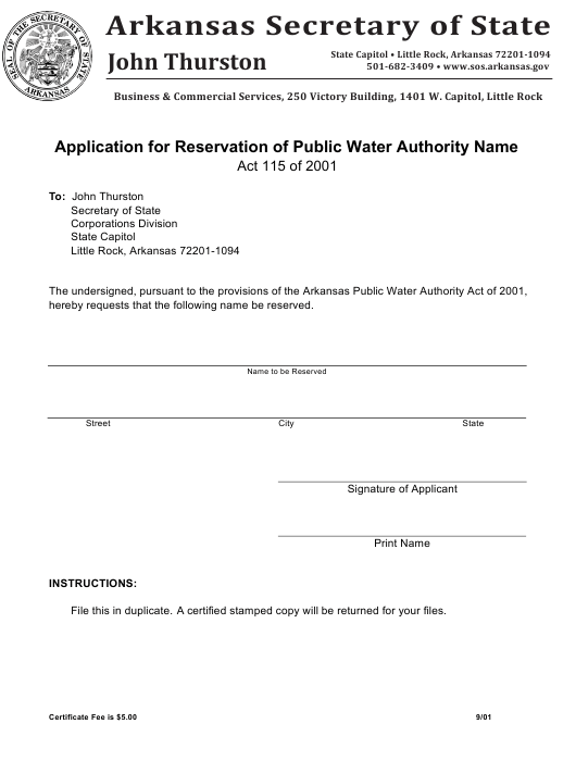 """""""Application for Reservation of Public Water Authority Name"""" - Arkansas Download Pdf"""