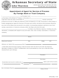 "Form CDF-04 ""Appointment of Agent for Service of Process by Foreign Bank or Trust Company"" - Arkansas"