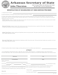 """Modification of Boundaries of Video Service Provider"" - Arkansas"