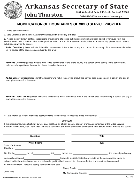 """Modification of Boundaries of Video Service Provider"" - Arkansas Download Pdf"