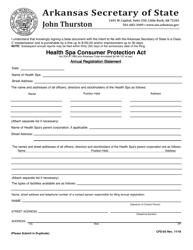"Form CDF-03 ""Health SPA Consumer Protection Act"" - Arkansas"
