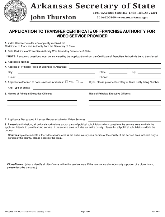 """""""Application to Transfer Certificate of Franchise Authority for Video Service Provider"""" - Arkansas Download Pdf"""