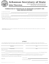 """""""Termination of Certificate of Franchise Authority for Video Service Provider"""" - Arkansas"""