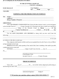 "Form JUV-6 ""Subpoena for the Production of Evidence"" - Georgia (United States)"
