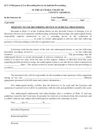 "Form JUV-19 ""Request to Use Recording Device in Judicial Proceeding"" - Georgia (United States)"