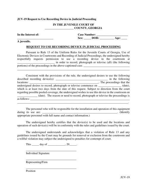 Form JUV-19  Printable Pdf