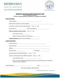 """Emergency Assistance Verification Request Form"" - Nebraska"