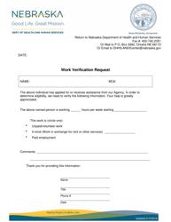 """Work Verification Request"" - Nebraska"