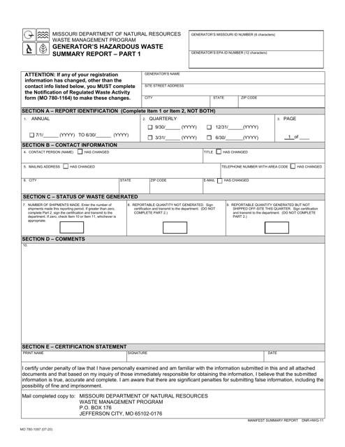 Form MO780-1097 Printable Pdf