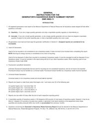 "Form MO780-1097 ""Generator's Hazardous Waste Summary Report"" - Missouri, Page 3"