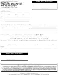 "Form K-WC E-5 ""Application for Review and Modification"" - Kansas"