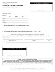 "Form K-WC E-6 ""Application for Dismissal"" - Kansas"