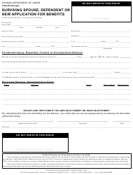 "Form K-WC E-2 ""Surviving Spouse, Dependent or Heir Application for Benefits"" - Kansas"