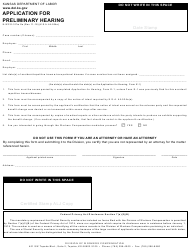 "Form K-WC E-3 ""Application for Preliminary Hearing"" - Kansas"