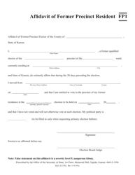"Form FP1 ""Affidavit of Former Precinct Resident"" - Kansas"