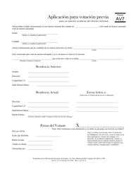 """Formulario AV7 """"Aplicacion Para Votacion Previa Para Un Anterior Residente Del Distrito Electoral"""" - Kansas (Spanish)"""
