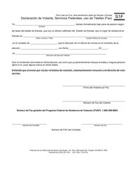 """Formulario S1F """"Declaracion De Votante, Servicios Federales, Uso De Telefax"""" - Kansas (Spanish)"""