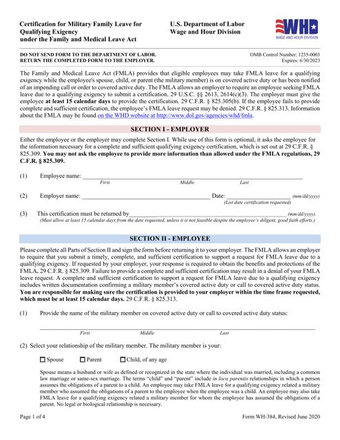 Form WH-384 Printable Pdf