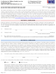 """Form WH-384 """"Certification for Military Family Leave for Qualifying Exigency Under the Family and Medical Leave Act"""""""
