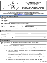 "Form W-1 (DEP7071-W1) ""Construction Permit Application for Wastewater Treatment Plant"" - Kentucky"