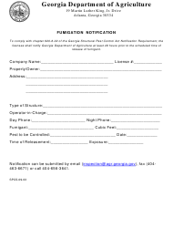 "Form SPCS-09-03 ""Fumigation Notification"" - Georgia (United States)"