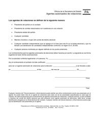"""Formulario PA """"Agentes Autorizados De Votaciones"""" - Kansas (Spanish)"""