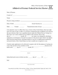 """Form S3 """"Affidavit of Former Federal Service Elector"""" - Kansas"""