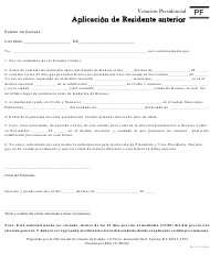"Formulario PF ""Aplicacion De Residente Anterior"" - Kansas (Spanish)"