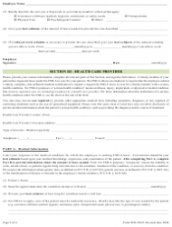 """Form WH-380-F """"Certification of Health Care Provider for Family Member's Serious Health Condition Under the Family and Medical Leave Act"""", Page 2"""