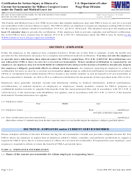 """Form WH-385 """"Certification for Serious Injury or Illness of a Current Servicemember for Military Caregiver Leave Under the Family and Medical Leave Act"""""""