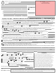 """Form DC-CV-082 """"Failure to Pay Rent - Landlord's Complaint for Repossession of Rented Property"""" - Maryland"""