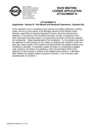 "Form MGCB-RAL-4059N Attachment N ""Race Meeting License Application"" - Michigan"