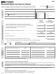 "Form PDR-1 ""Minnesota Motor Fuel Claim for Refund"" - Minnesota"